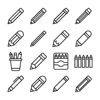 Zestaw ikon linii ołówków