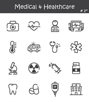 Zestaw ikon linii opieki medycznej i opieki zdrowotnej