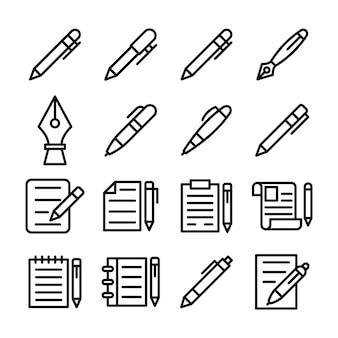Zestaw ikon linii papeterii