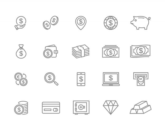 Zestaw ikon linii pieniądze. moneta, gotówka, karta, bankomat i więcej.