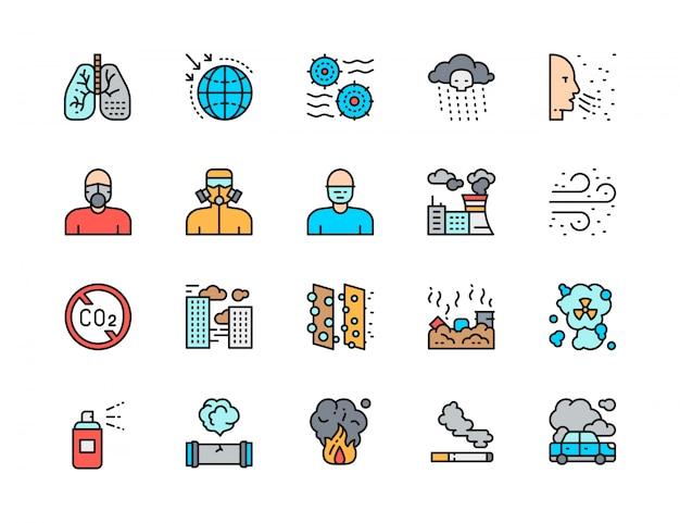 Zestaw ikon linii płaski kolor zanieczyszczenia. pył powietrza, układ oddechowy, maska ochronna