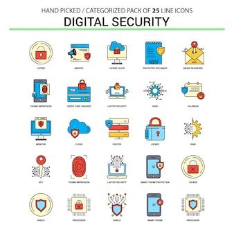 Zestaw ikon linii płaskich bezpieczeństwa cyfrowego