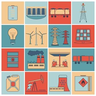Zestaw ikon linii płaskiej energii