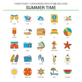 Zestaw ikon linii płaskiej lato czas