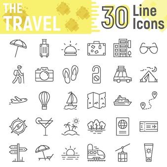 Zestaw ikon linii podróży, kolekcja symboli turystyki