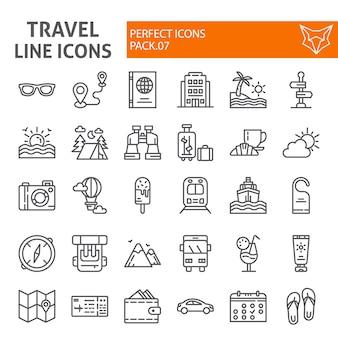 Zestaw ikon linii podróży, kolekcja turystyki
