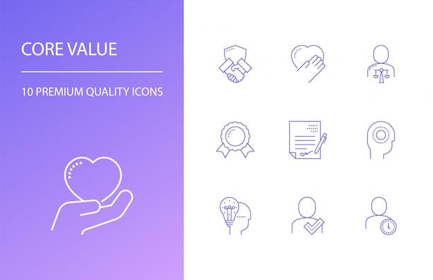 Zestaw ikon linii podstawowej wartości