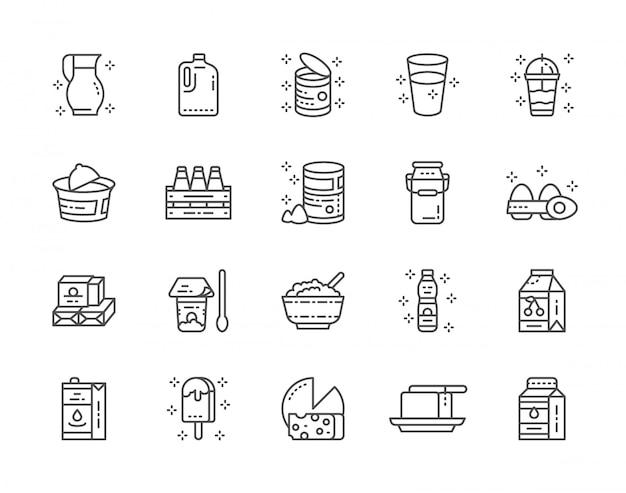 Zestaw ikon linii produktów mlecznych. mleko, śmietana, kefir, jogurt, koktajl mleczny i więcej