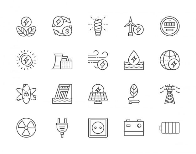 Zestaw ikon linii przemysłu energetycznego.