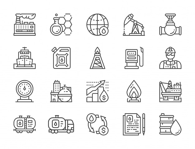 Zestaw ikon linii przemysłu naftowego. ciężarówka na paliwo, inżynier, fabryka i więcej.