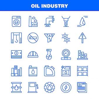 Zestaw ikon linii przemysłu naftowego
