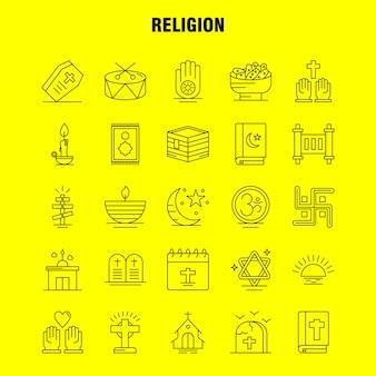 Zestaw ikon linii religii: trumna, święta, religia, religia, módl się, kościół, muzułmanin