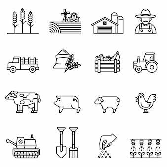 Zestaw ikon linii rolnictwa i rolnictwa. rolnicy, plantacja, ogrodnictwo, zwierzęta, przedmioty, ciężarówki do harwesterów, traktory.