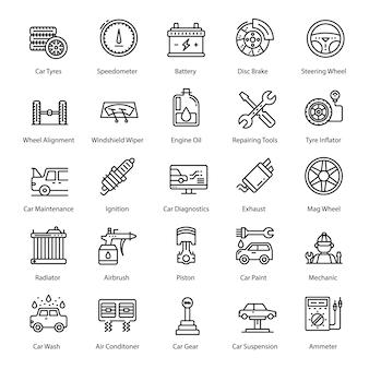 Zestaw ikon linii serwisowej samochodu