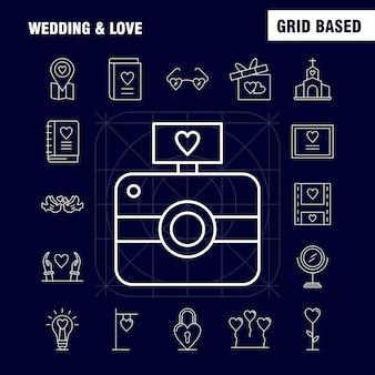 Zestaw ikon linii ślub i miłość
