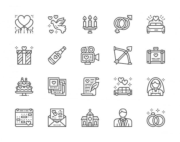 Zestaw ikon linii ślubu. łóżko dla nowożeńców, limuzyna, panna młoda, pan młody i więcej.