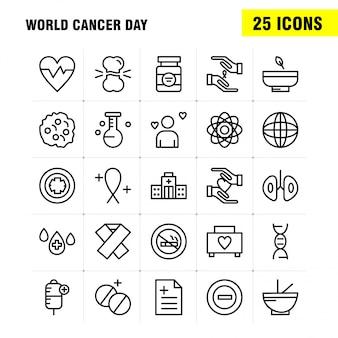 Zestaw ikon linii światowy dzień raka dla infografiki, zestaw mobile ux / ui
