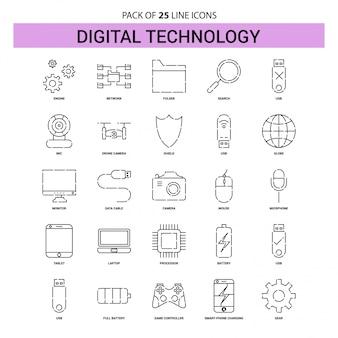 Zestaw ikon linii technologii cyfrowej - 25 przerywanych stylów linii
