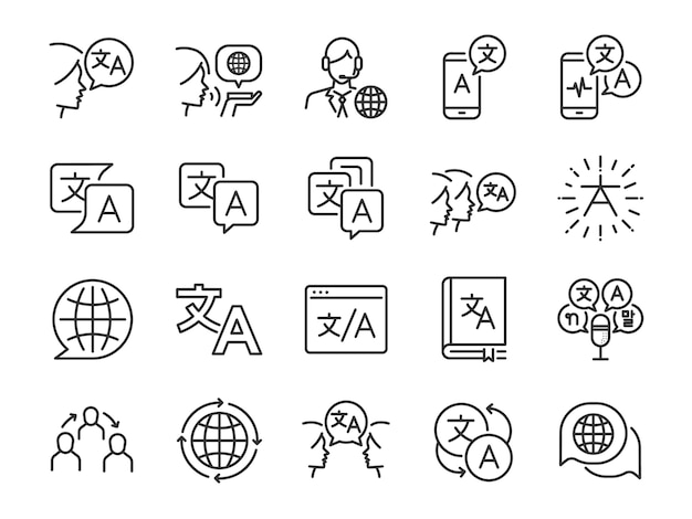 Zestaw ikon linii tłumaczenia.