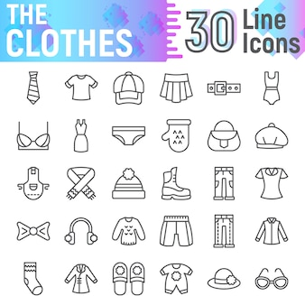 Zestaw ikon linii ubrań, kolekcja symboli tkaniny