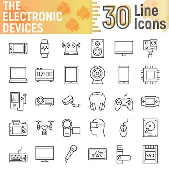 Zestaw ikon linii urządzeń elektronicznych, kolekcja symboli mediów