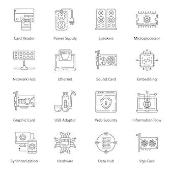 Zestaw ikon linii urządzeń komputerowych