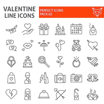 Zestaw ikon linii walentynki, kolekcja symboli ślubu,