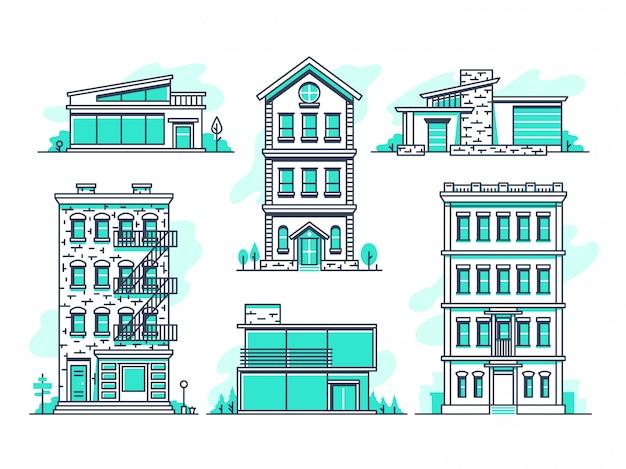 Zestaw ikon linii współczesnych domów miejskich i podmiejskich.