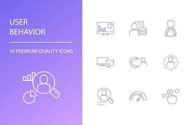 Zestaw ikon linii zachowania użytkownika