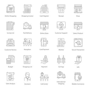 Zestaw ikon linii zakupów