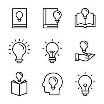 Zestaw ikon linii żarówki i książki