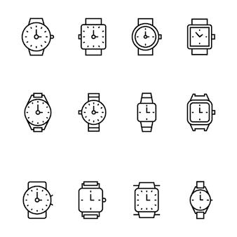 Zestaw ikon linii zegarek na rękę