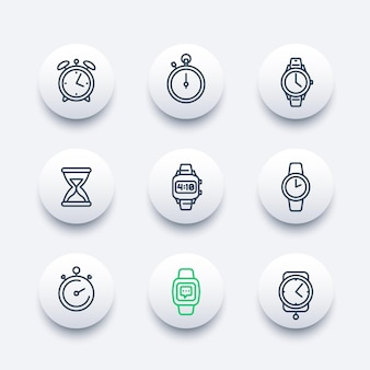 Zestaw ikon linii zegarków
