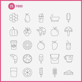 Zestaw ikon linii żywności