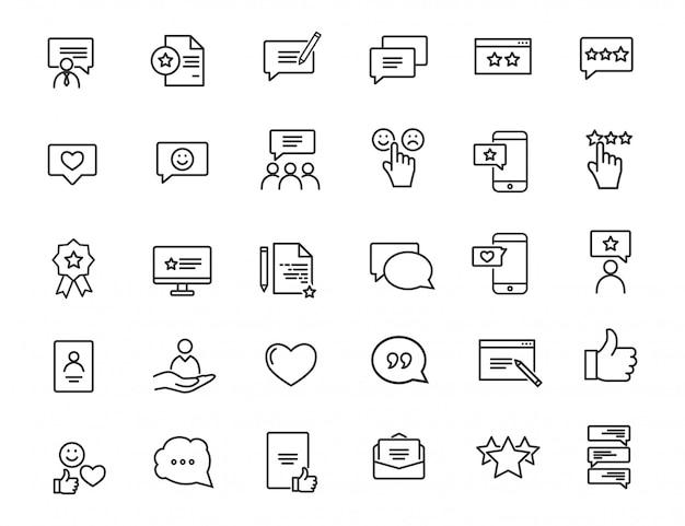 Zestaw ikon liniowej informacji zwrotnej. ikony zadowolenia klienta w prostej konstrukcji.