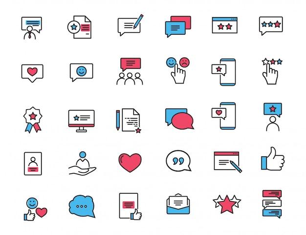 Zestaw ikon liniowej informacji zwrotnej ikony zadowolenia klienta