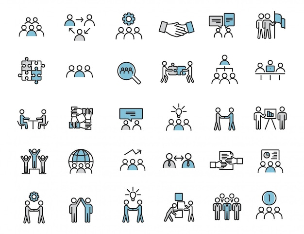 Zestaw ikon liniowej pracy zespołowej ikony komunikacji
