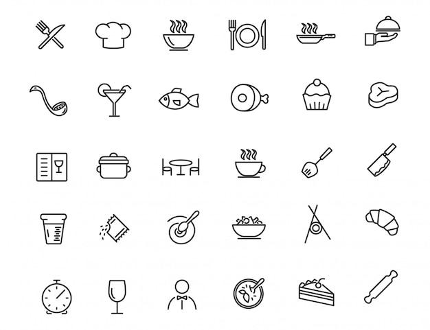 Zestaw ikon liniowej restauracji. ikony żywności w prostym stylu