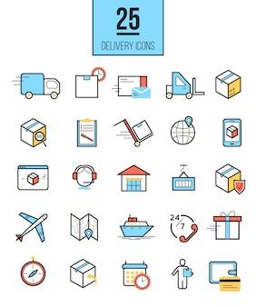 Zestaw ikon liniowy dostawy dostawy
