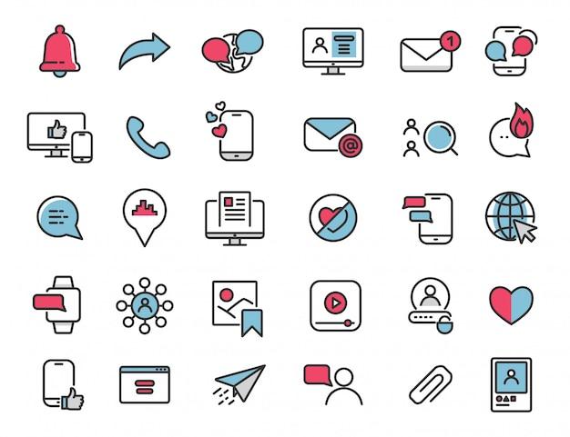 Zestaw ikon liniowych mediów społecznościowych ikony internetowe