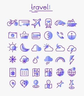 Zestaw ikon liniowych podróży, turystyki i pogody