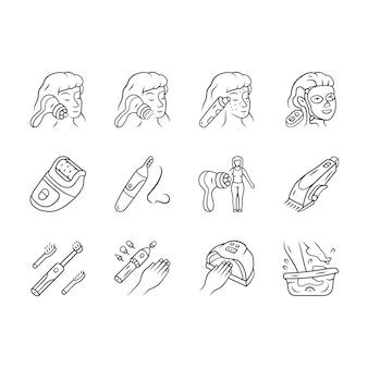 Zestaw ikon liniowych urządzeń kosmetycznych. procedury kosmetologii domowej. masażer twarzy, preparat do usuwania zaskórników, depilator, trymer do włosów w nosie.
