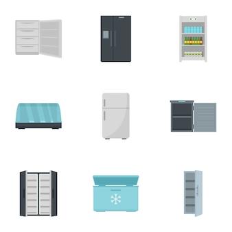 Zestaw ikon lodówki. płaski zestaw 9 ikon wektorowych lodówka