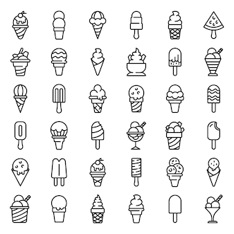 Zestaw ikon lody, styl konturu