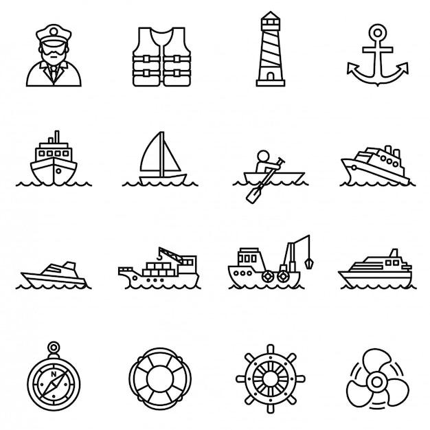 Zestaw ikon łodzi i statku z białym tłem.