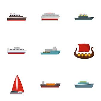 Zestaw ikon łodzi. płaski zestaw 9 ikon łodzi
