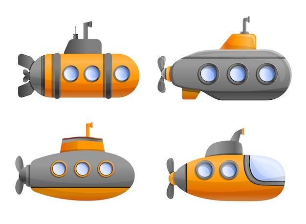 Zestaw ikon łodzi podwodnej