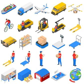 Zestaw ikon logistyczne dostawy, styl izometryczny