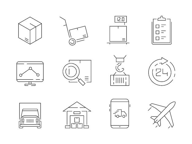 Zestaw ikon logistycznych. magazynowe pudełka dostawy pojemniki i transport żuraw statek wektor cienka linia symboli