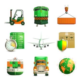 Zestaw ikon logistycznych